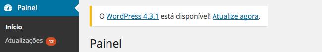 atualização de versão do WordPress